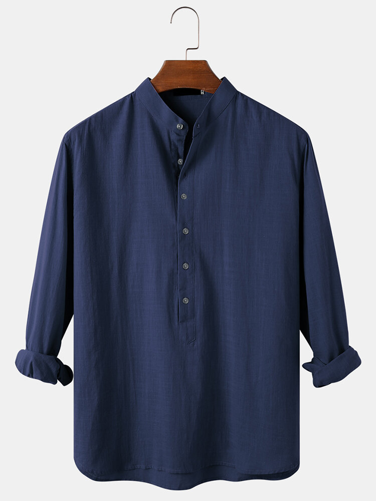 Mens Solid Color Cotton Breathable Casual Long Sleeve Henley Shirts