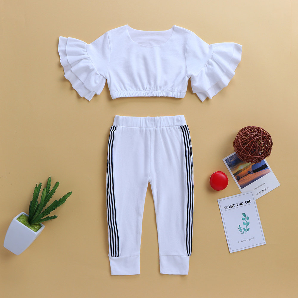 Girls Clothing Sets Ruffles Short Tops + Striped Pants For 1Y-7Y