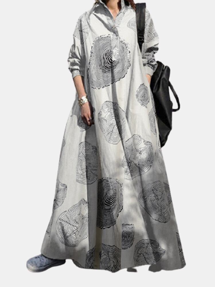 Wood Grain Print Lapel Loose Plus Size Dress with Pockets