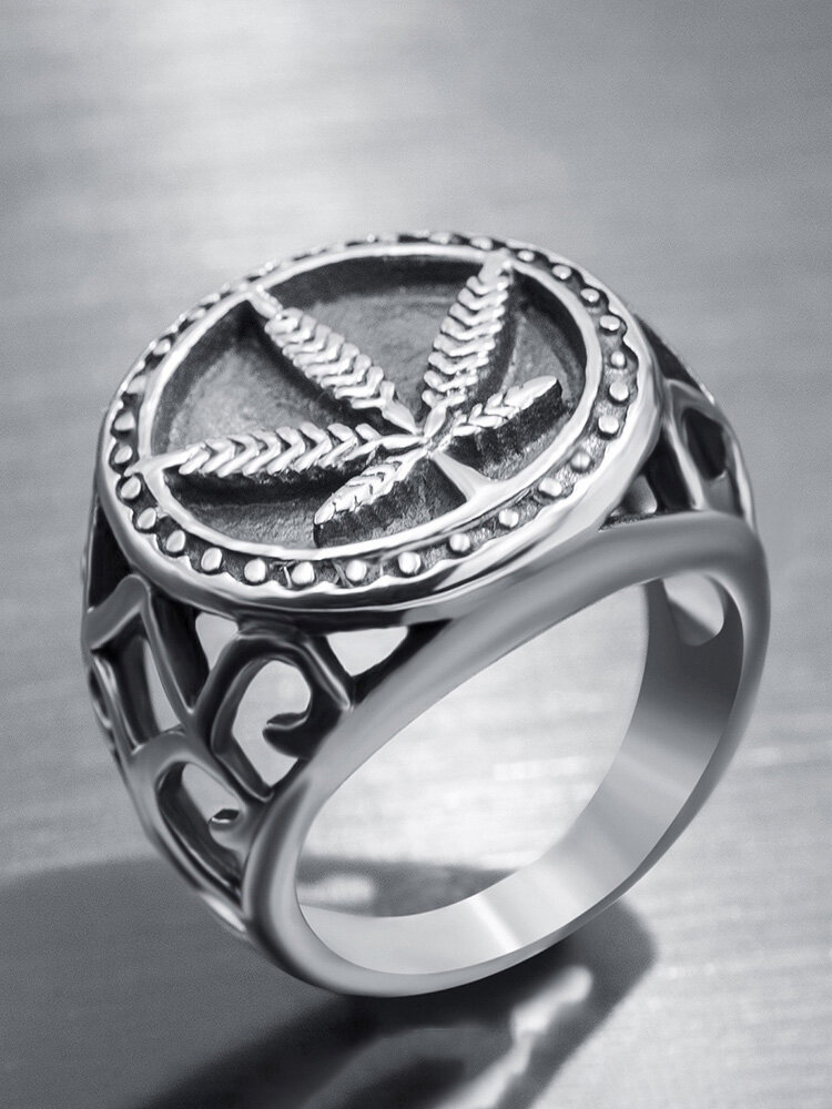 Punk Alloy Maple Leaf European and American Personality Ring