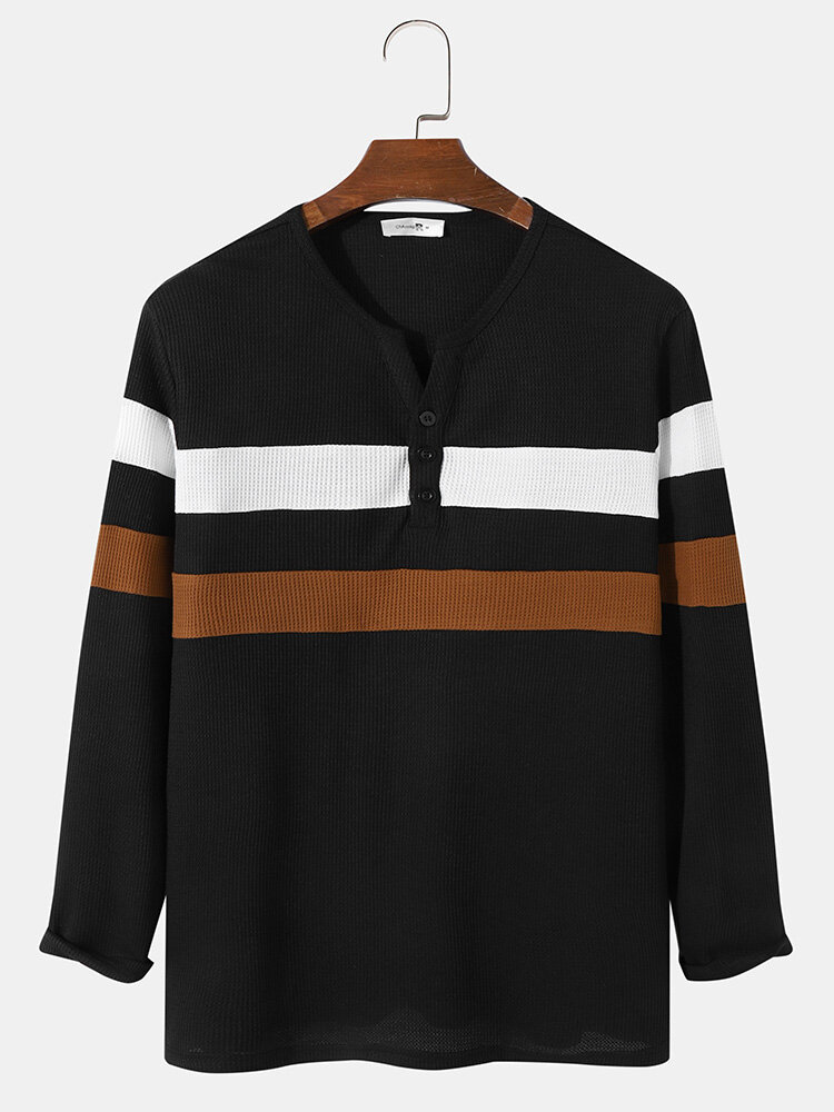 Mens Knitted Contrasting Colors Texture Preppy Long Sleeve T-Shirt