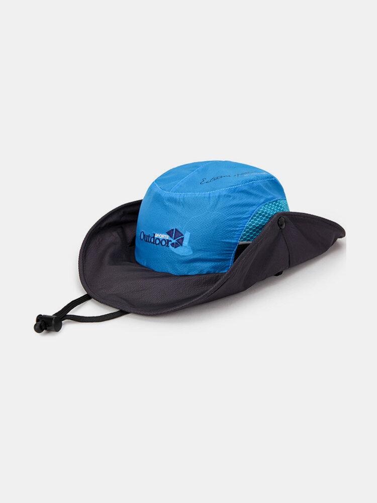 Mens Foldable Quick Dry Thin Visor Bucket Hats Fisherman Hat Outdoor Climbing Mesh Sunshade Cap