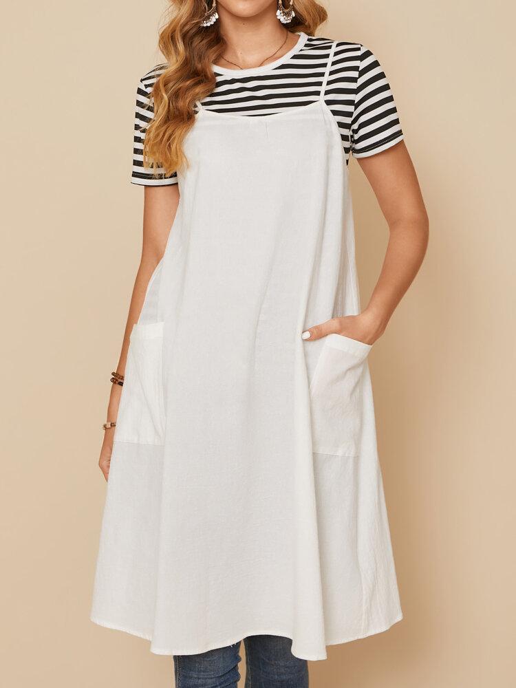 Casual Solid Color Spaghetti Strap Pockets Button Slit Back Cotton Dress