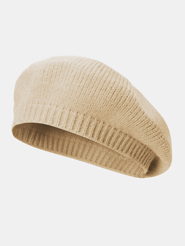 Women Knitted Solid Color All-match Octagonal Hat Beret