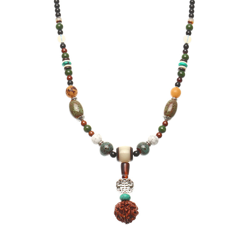 Women's Retro Necklace Ethnic Ceramic Buddha Beads Sweater Necklace