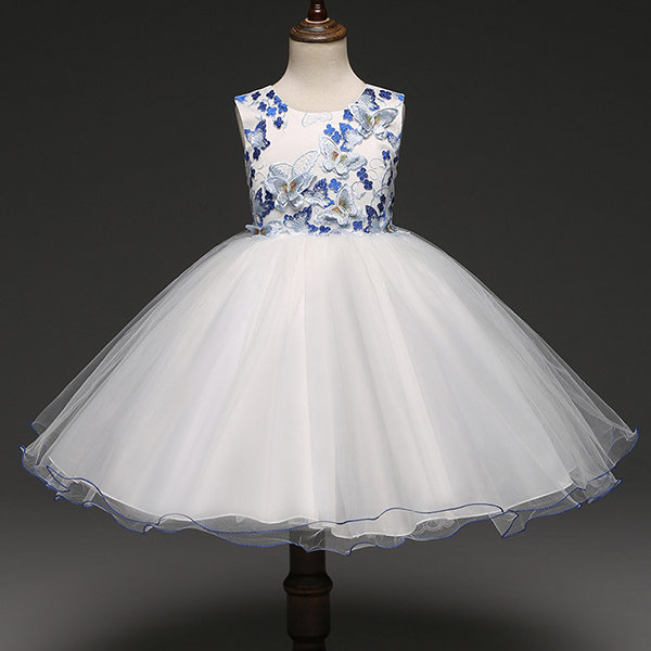 Latest 3D Butterfly Girls Dress Kids Flower Lace Party Wedding Dresses
