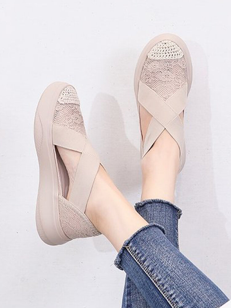 Women Casual Breathable Lace Closed Toe Elastic Band Platform Sandals