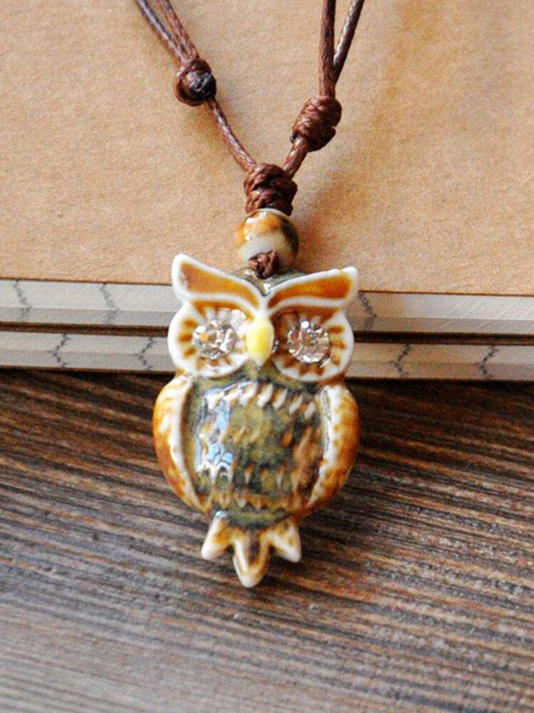 Vintage Geometric Rhinestones Owl Pendant Drawstring Necklace Ethnic Handmade Ceramic Adjustable Long Necklace