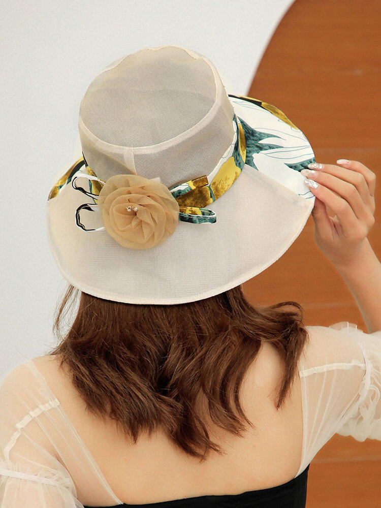 Women Cotton Solid Calico Print Patchwork Tulle Flower Decoration Breathable Sunshade Foldable Bucket Hat