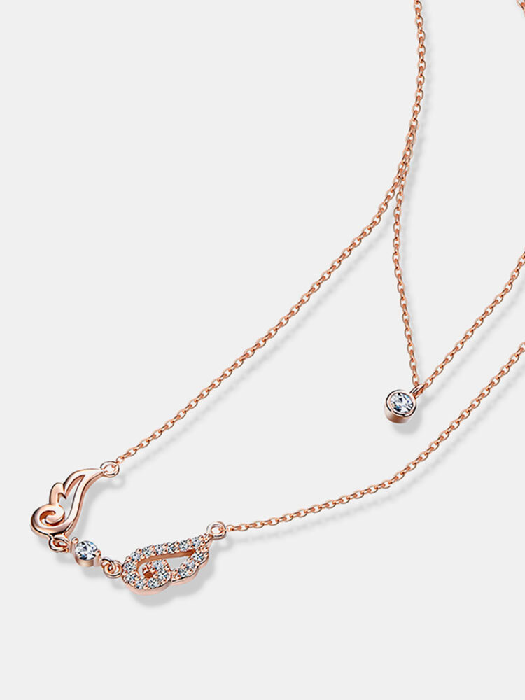 Angel Wings Charming Double Layer Zircon Pendant Nonallergenic Delicate Necklace