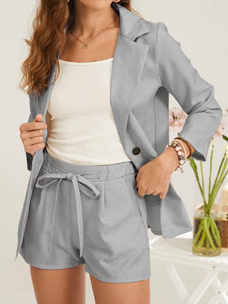 Solid Slit Hem Button Blazer & Knotted Shorts Business Suit with Pocket