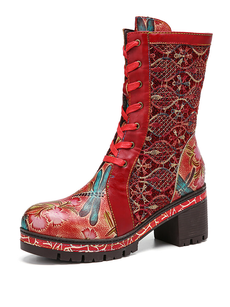 SOCOFY Retro Embossing Floral Embroidery Cloth Leather Splicing Chunky Heel Boots