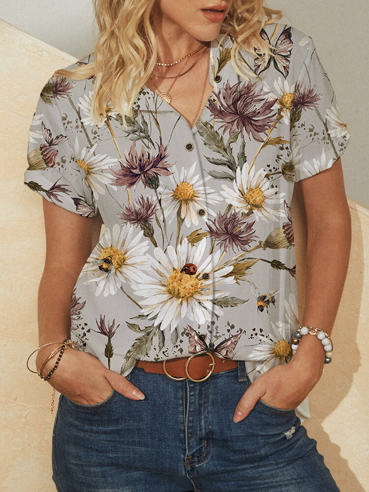 Calico Print Short Sleeve Plus Size Casual Shirt for Women