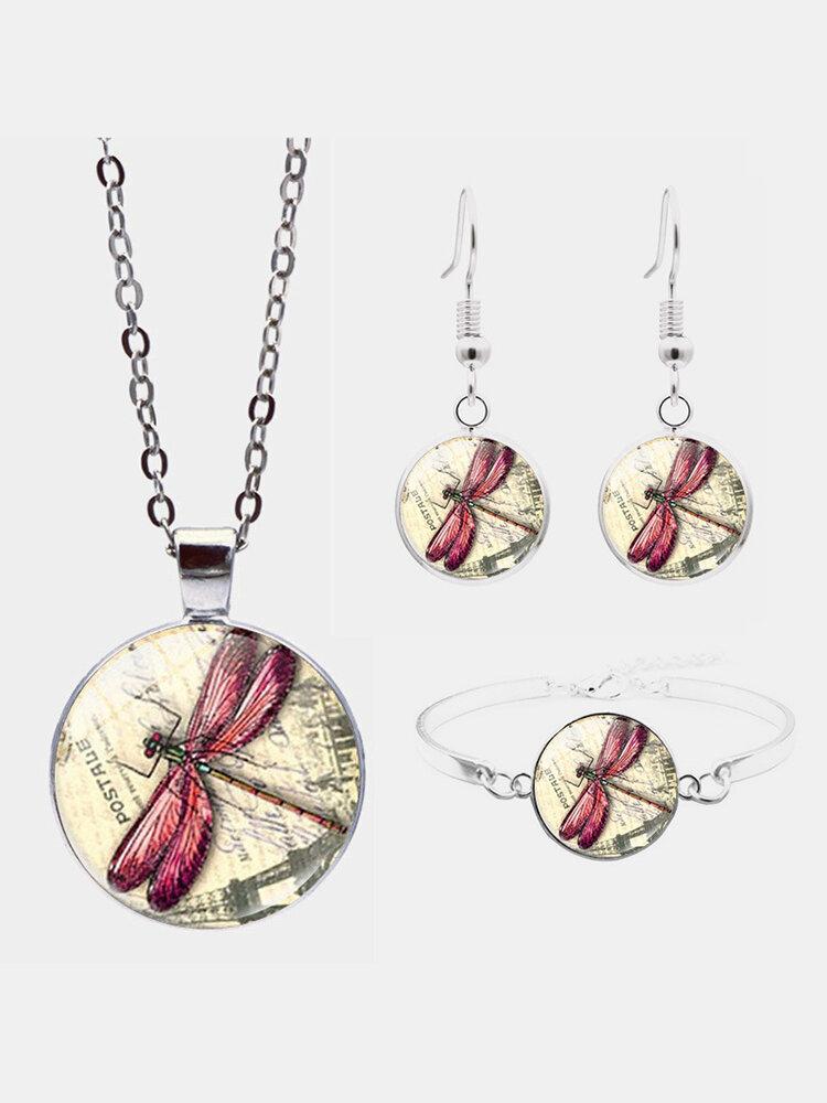 3 Pcs Vintage Dragonfly Jewelry Set Adjustable Glass Pendant Necklace Earrings Bracelet