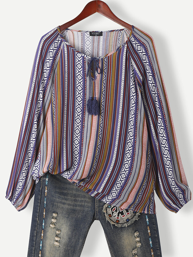 Multi-striped Print Tassel Knotted Collar T-Shirt for Women