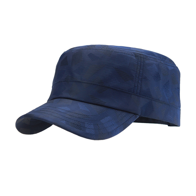 Mens Light Breathable Quick-dry Flat Peak Hat Outdoor Waterproof Anti-UV Plaid Sun Army Hat