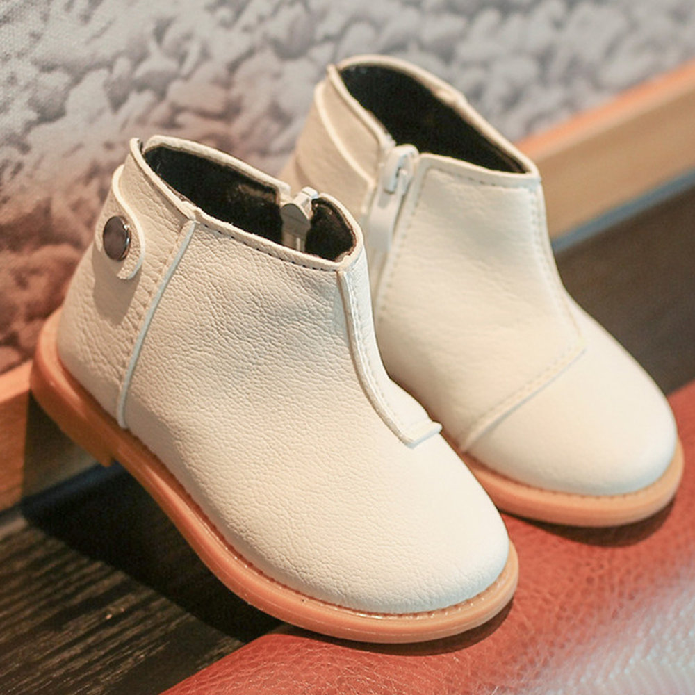 Unisex Toddler Side Zipper Round Toe Solid Color Soft Short Boots
