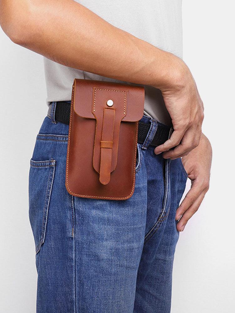 Men Brown Vintage Genuine Leather Cow Leather 6.5 Inch Phone Bag Waist Bag