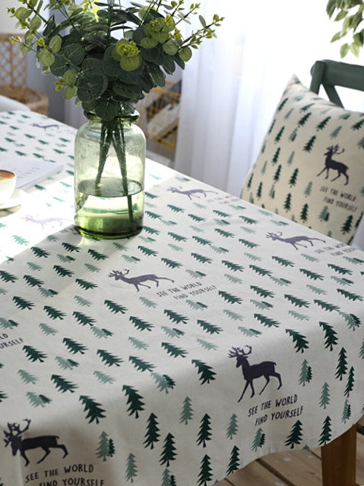 Linen Cotton Table Cloth with 2 Pillowcase Green Trees Christmas Wedding Banquet Washable Table