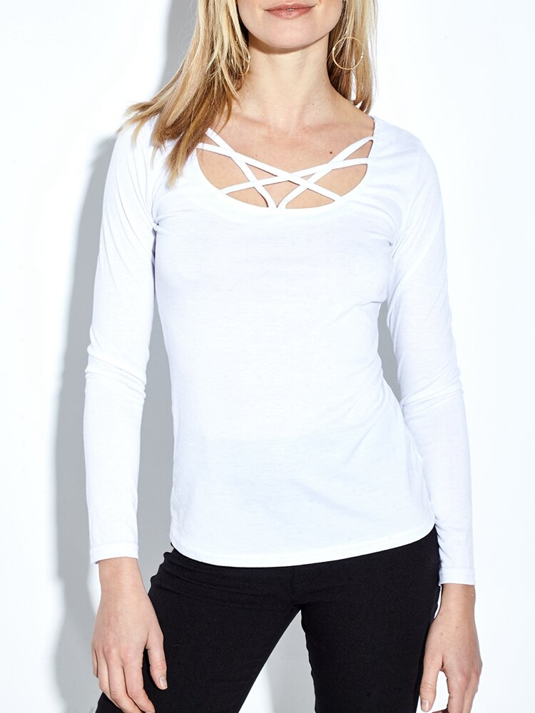 Casual Crossed Straps O-neck Long Sleeve Women T-shirt