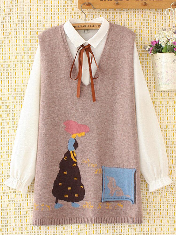 Cartoon Print V-neck Casual Sweater Waistcoat Vest For Women