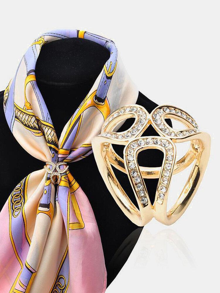Elegant Gold Silver Hollow Rhinestones Scarf Buckle Charm Gift for Women