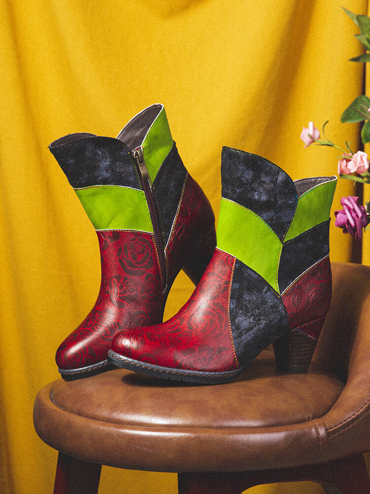 SOCOFY Genuine Leather Colorblock Splicing Floral Embossed Round Toe Short Boots