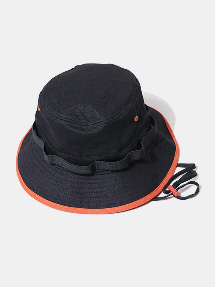 Cappello da pescatore semplice unisex in cotone con coulisse a contrasto