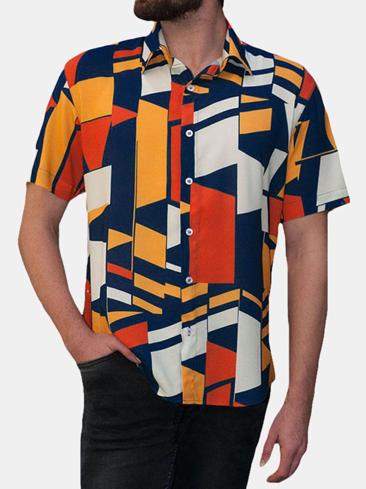 Hombre Geometric Colorful Block Printed Short Sleeve Camisa