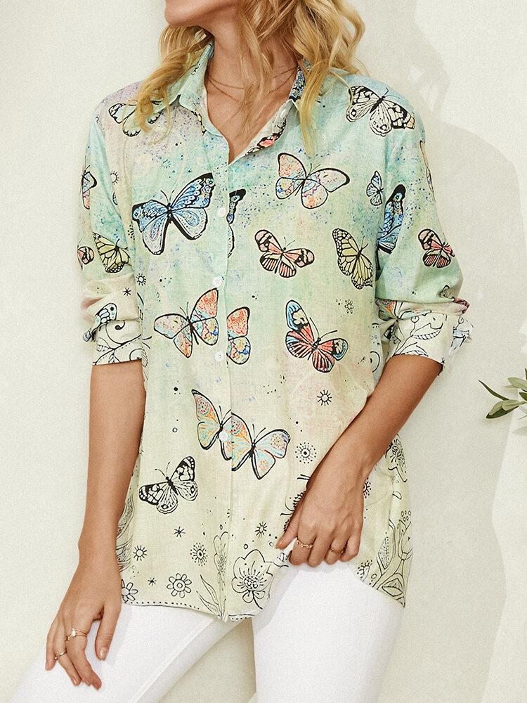 Chemise décontractée à manches longues et revers imprimé papillon pour femme