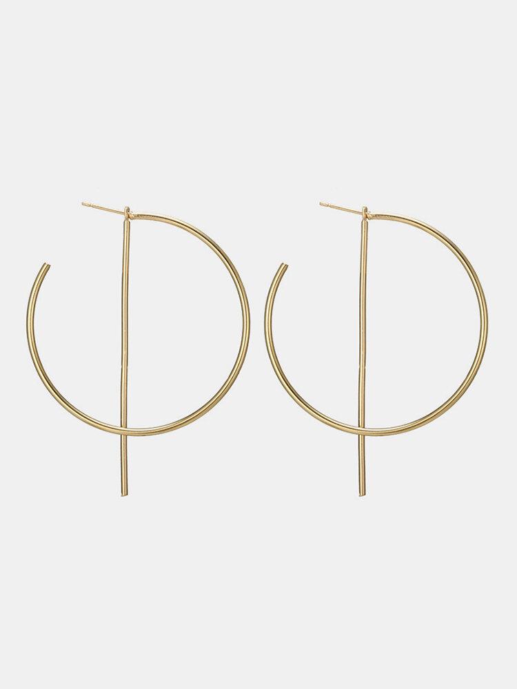 Fashion Big Earrings Hollow Big Round Bar Ear Stud Hoop Ear Accessories Jewelry for Women