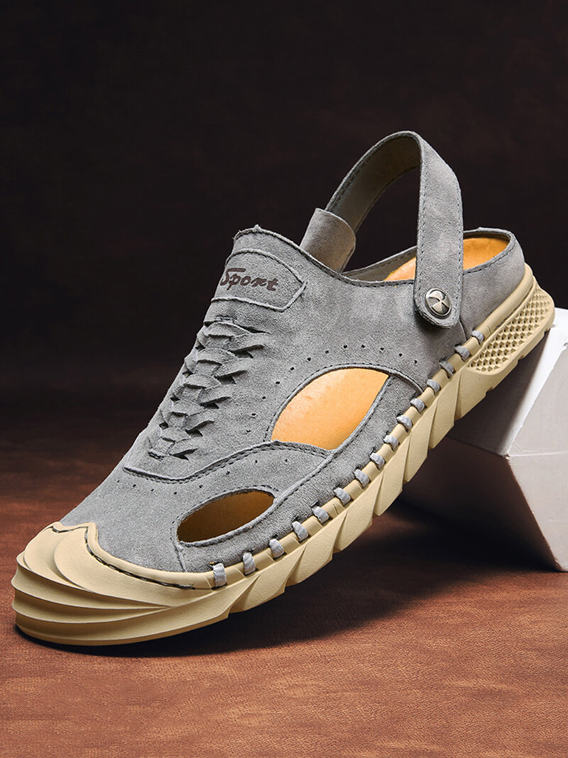 Men Suede Two Ways Wearing Closed Toe Non Slip Outdoor Casual Snadals