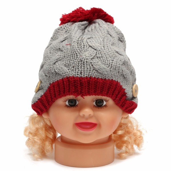 Baby Girl Boy Bambini Beanie Crochet Knit liberamente intrecciato Button Cover Warmer Cap Earflap Hat
