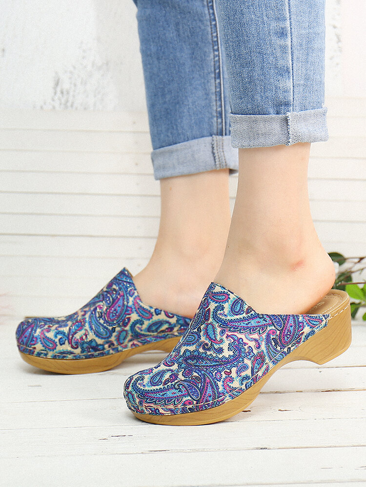 SOCOFY Retro Cloth Folkways Pattern Stitching Slip On Mules Clogs Comfy Low heel Sandals For Easter Gifts