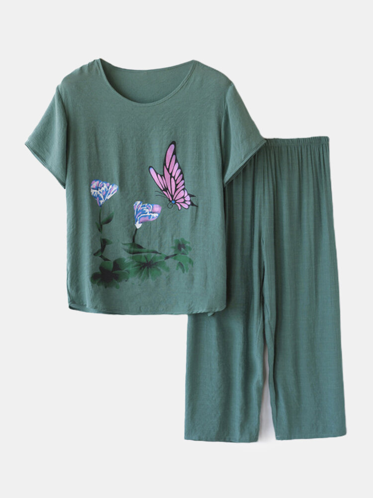 Women Butterfly Print Loungewear Short Sleeve Floral Loose Breathable O-Neck Summer Pajamas To Wear Outside