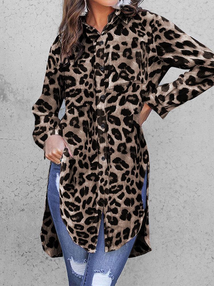 Leopard Print Split Hem Long Sleeve Sexy Plus Size Shirt