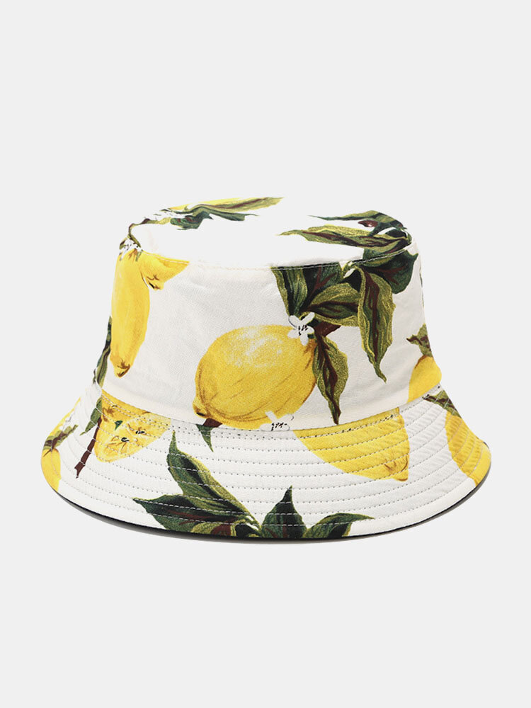 Unisex Cotton Lemon Leaf Pattern Printed Double-sided Wearable Fashion Bucket Hat