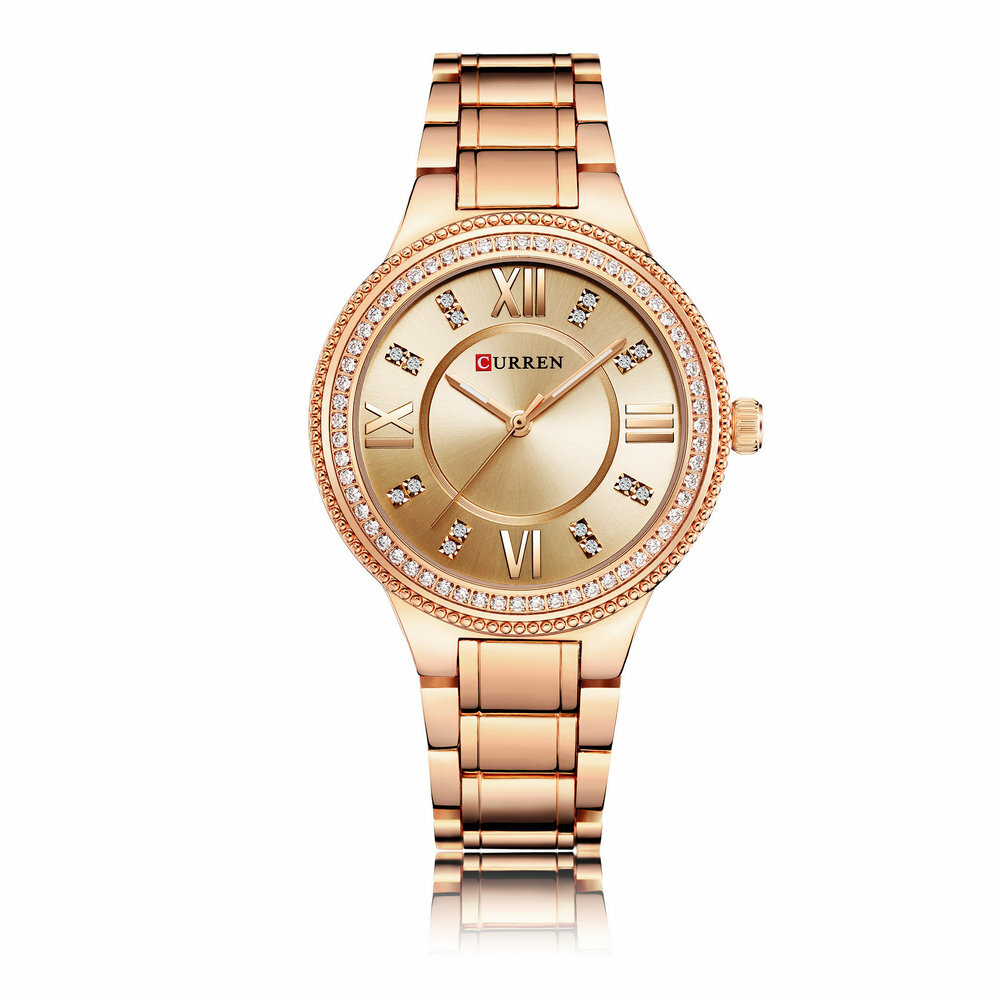 Fashion Quartz Wristwatches Stainless Steel Strap Roman Big Number Dial Watches for Women