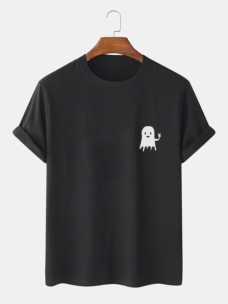 Mens 100% Cotton Halloween Cartoon Ghost Print Casual Short Sleeve T-Shirts