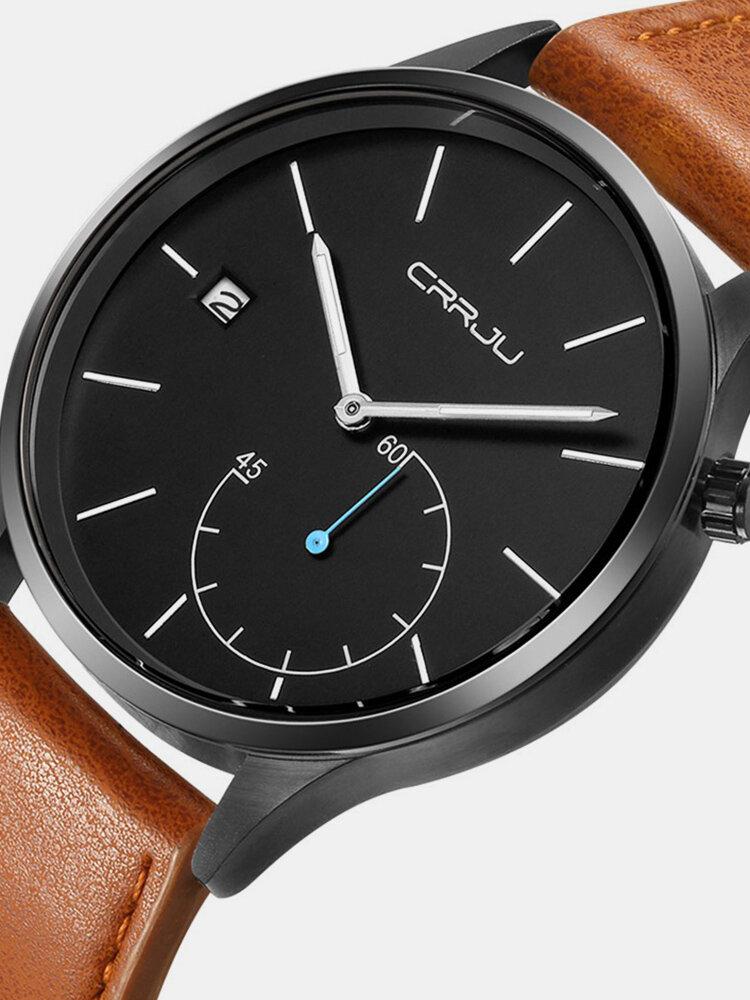 Fashion Quartz Wristwatch Leather Strap Calendar No Number Dial Round Causal Watches for Men