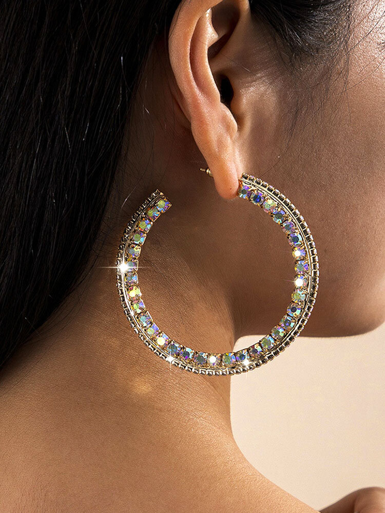 Trendy Rhinestone Earrings Temperament Metal Circle Earrings