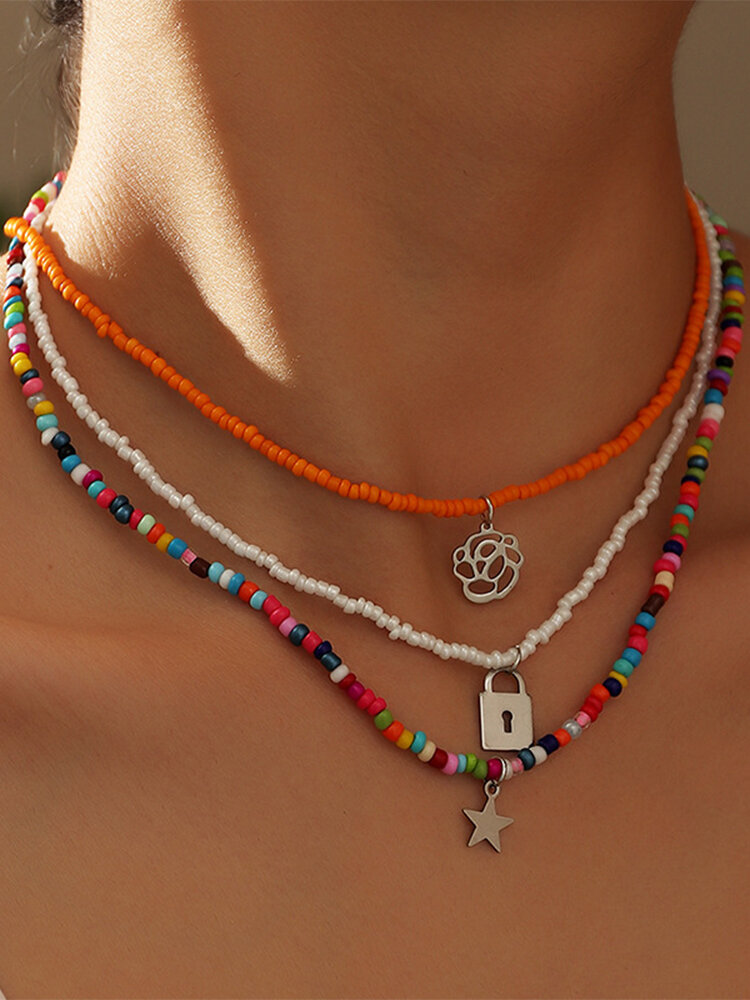 3 Pcs Bohemian Country Style Star Lock Hollow Flower Shape Pendant Colorful Beads Alloy Necklaces Set