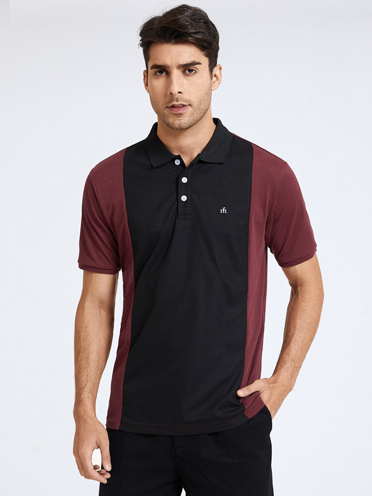 Mens Letter Embroidery 100% Cotton Contrasting Colors Short Sleeve Golf Shirt
