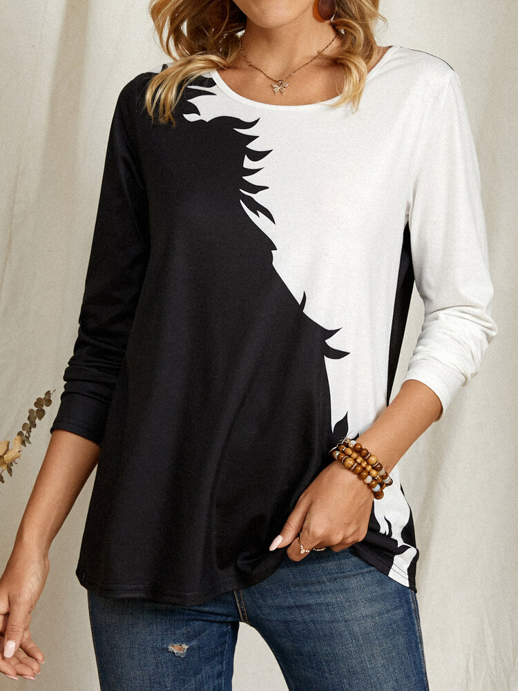 Patched Print Contrast Color Casual Long Sleeve T-Shirt For Women