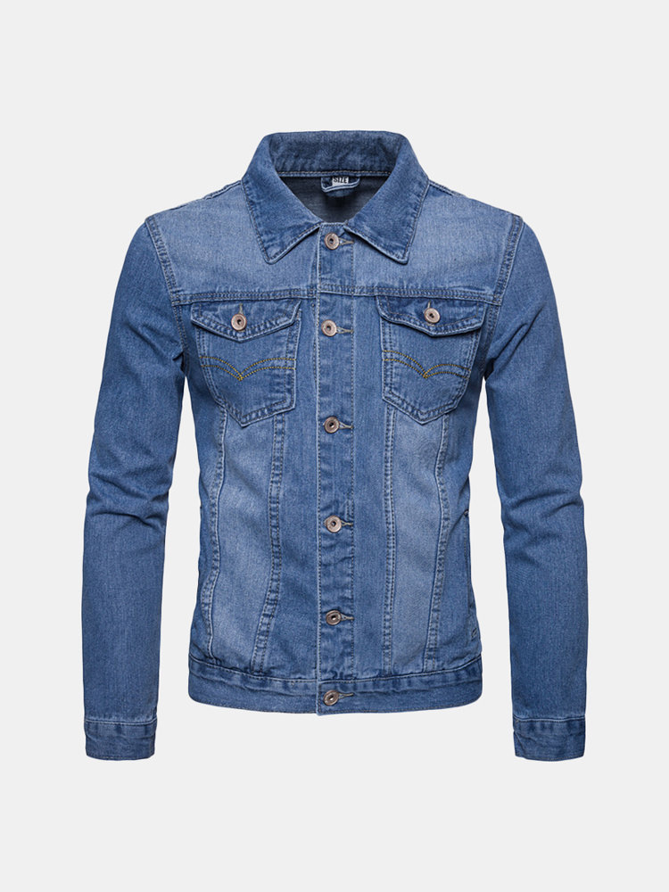 Men's Casual Fashion Denim Chest Pockets Solid Color Slim Fit Turn-down Collar Jackets