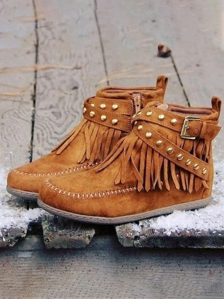 Plus Size Women Suede Tassel Metal Buckle Flat Ankle Boots