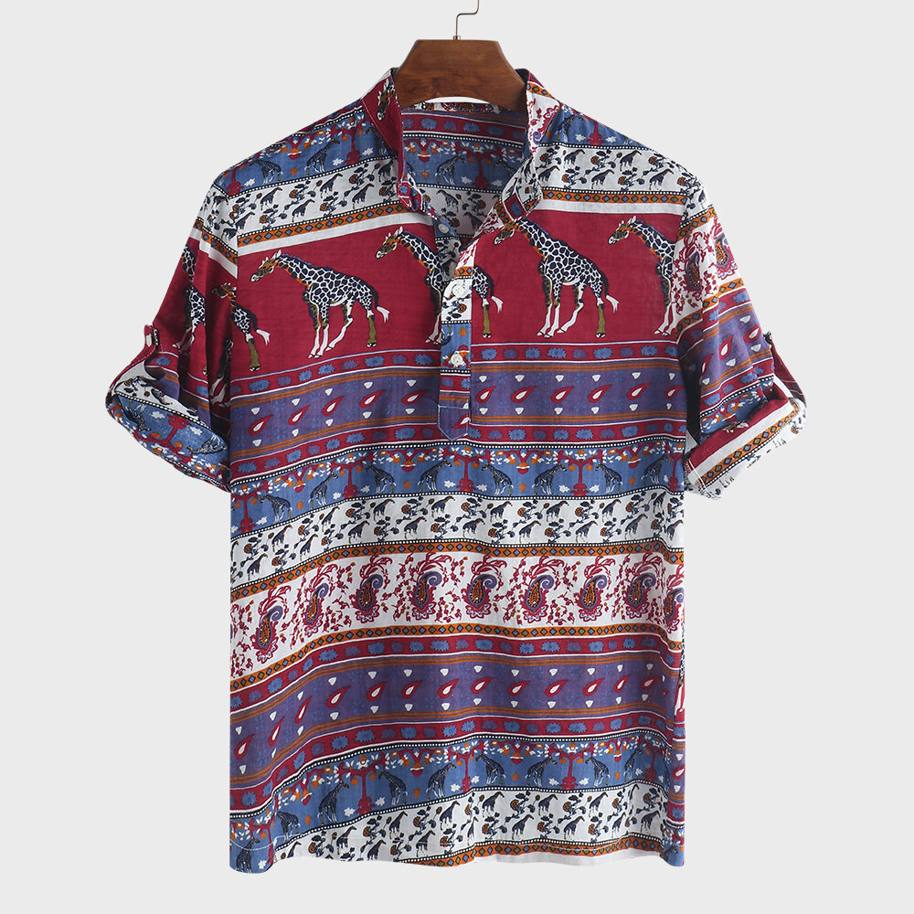 5b1479db2f7 Men's Ethnic Style Printed Stand Collar Half Sleeve Loose Casual T-shirt