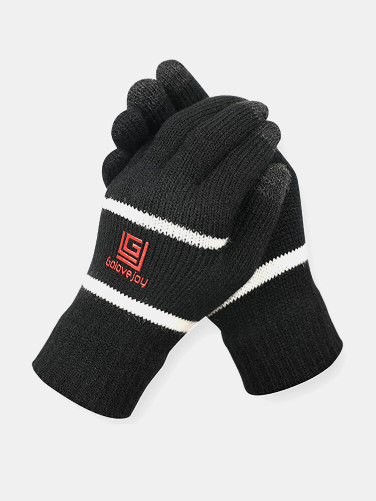Men Winter Thick Touch Screen Windproof Warm Full-finger Gloves Outdoor Home Ski Cycling Gloves
