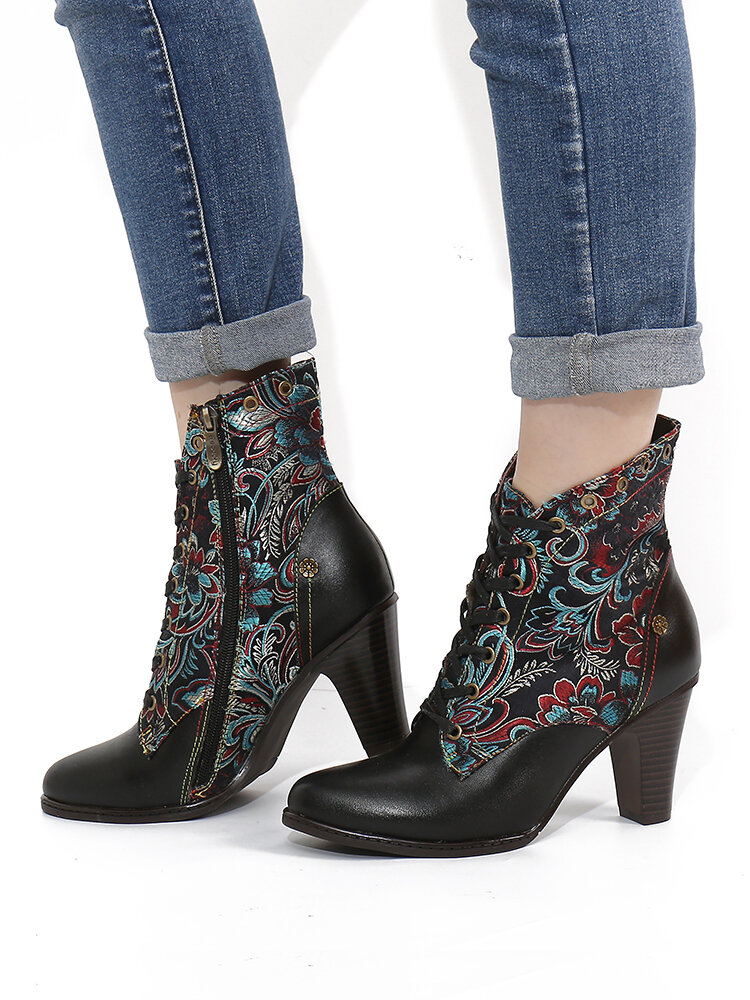 SOCOFY Retro Genuine Leather Flower Embroidery Warm Lining Chunky Heel Short Boots