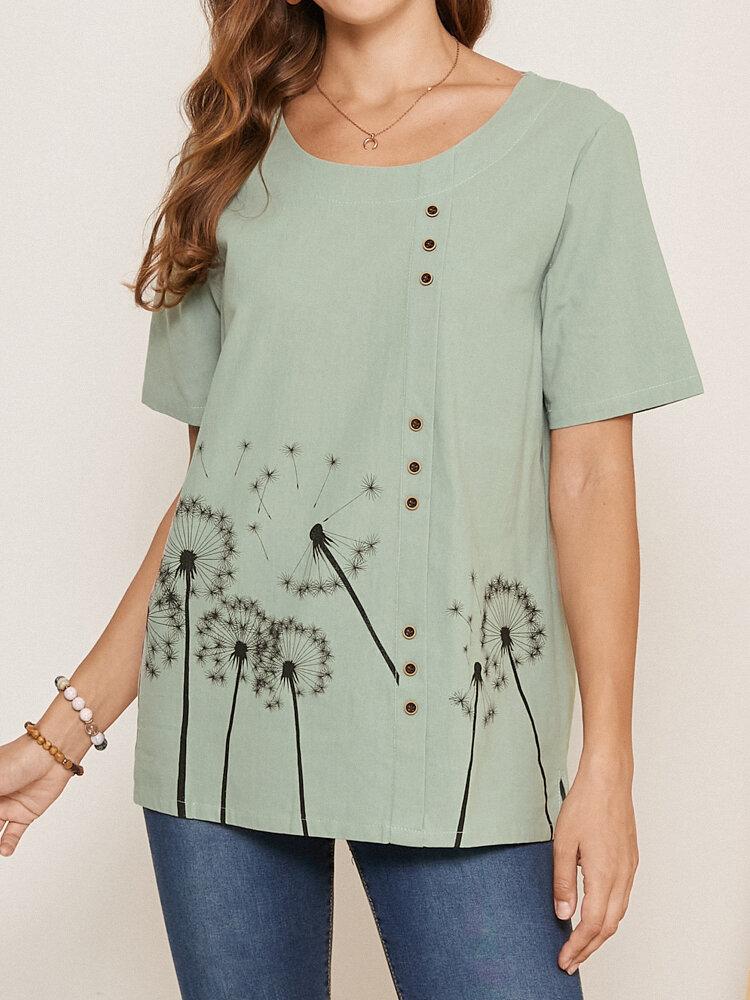 Calico Print O-Ausschnitt Kurzarm Knopf Casual T-Shirt Für Damen